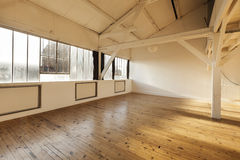 Interior loft. Beams and wooden floor Royalty Free Stock Image