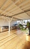 Interior loft. Interior wide loft, beams and wooden floor Royalty Free Stock Photos
