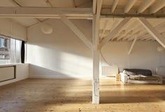 Interior loft. Interior wide loft, beams and wooden floor Stock Photo