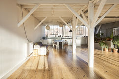 Interior loft. Wide room of loft, beams and wooden floor Royalty Free Stock Photo