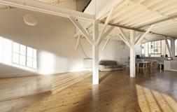 Interior loft. Interior wide loft, beams and wooden floor Royalty Free Stock Image