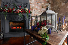 Interior loft with fireplace in modern design Stock Photos