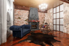 Interior loft with fireplace in modern design Royalty Free Stock Photos