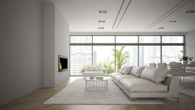 Interior of the loft with modern fireplace 3D rendering Stock Photos