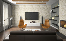 Interior of the loft with orange. Armchairs and fireplace 3D Stock Image