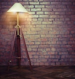 Interior of loft with retro lamp Stock Images