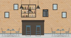Interior of loft style cafe or bar vector illustration