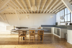 Interior loft, table Stock Images