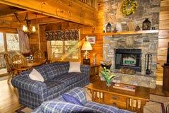Interior of Log Cabin Stock Photos