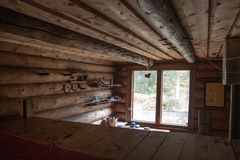 Interior of Log Cabin in Taiga Forest Stock Images