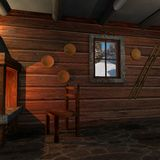 Interior at a log home. 3D render Royalty Free Stock Photos