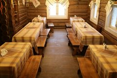 Interior of log restaurant royalty free stock image