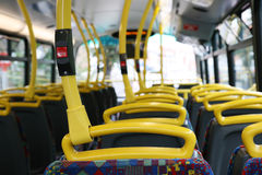 Interior of London City Bus. Interior of London Dobule Decker Bus Stock Photography