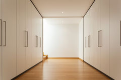 Interior, long corridor with wardrobes Royalty Free Stock Photos