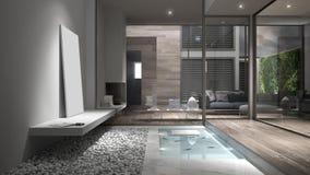 Interior lounge design. 3d render Stock Photo