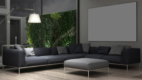 Interior lounge design. 3d render Royalty Free Stock Image