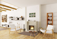 Interior of lounge room with fireplace 3d render Stock Photos
