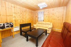 Interior of lounge in wooden sauna house Royalty Free Stock Photography