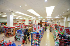 Interior of a low-price hyperpermarket Voli Royalty Free Stock Image