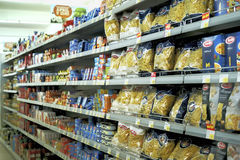 Interior of a low-price supermarket IDEA. Herceg-Novi, Montenegro, March, 31, 2016: Interior of a low-price supermarket IDEA stock photos