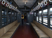 Interior of Low Voltage train at Yankee Stadium station for open Stock Images