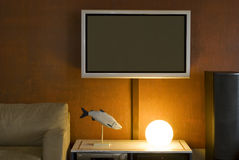 Interior with LSD television set. In the evening Royalty Free Stock Photography