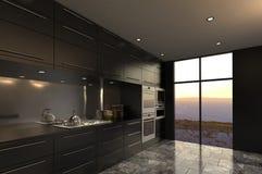 Interior lujoso de la cocina del diseño moderno Fotos de archivo libres de regalías