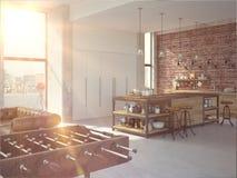 Interior lujoso de la cocina del diseño moderno representación 3d Imágenes de archivo libres de regalías