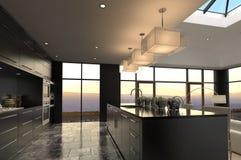 Interior lujoso de la cocina del diseño moderno Imagen de archivo libre de regalías