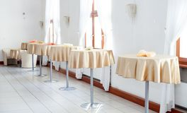 Interior of lunchroom, canteen with tables Royalty Free Stock Image