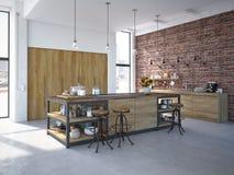Interior luxuoso da cozinha do projeto moderno rendição 3d Fotos de Stock Royalty Free