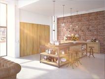Interior luxuoso da cozinha do projeto moderno rendição 3d Imagens de Stock Royalty Free