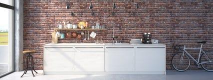 Interior luxuoso da cozinha do projeto moderno rendição 3d Fotografia de Stock Royalty Free