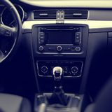 Interior of luxurious modern car. Interior of luxurious sport car. modern car interior. air condition in auto. car multimedia and navigation Stock Photo