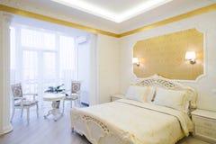 Interior luxury apartment, comfortable bedroom Stock Images