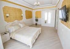 Interior luxury apartment, comfortable bedroom Royalty Free Stock Photo