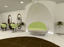 Interior of luxury beauty salon. Construction of the wall. Modern sofa. Work places. Mirror with chair. Interior Vector Illustration