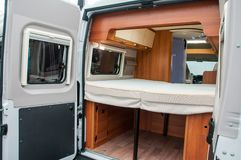 Interior of luxury caravan stock photography