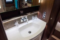 Interior of luxury caravan royalty free stock photos