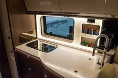 Interior of luxury caravan stock images