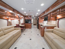 Interior of luxury diesel pusher. Motor home stock image