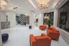 Interior of a luxury hotel lobby reception area Stock Photo