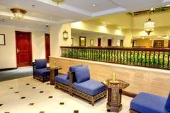 Interior of the luxury hotel in night illumination. Ajman, UAE stock photo
