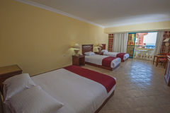 Interior of a luxury hotel room with balcony Royalty Free Stock Photography