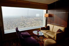 Interior of the luxury hotel with a view on Dubai city Royalty Free Stock Images
