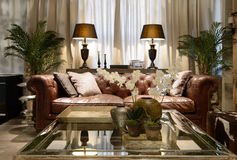 Interior of a luxury living-room. Exclusive design Royalty Free Stock Photography