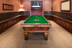 Interior, luxury room with pool table Royalty Free Stock Images