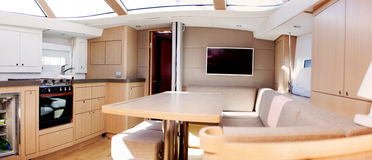 Interior of luxury sailing boat. Moored in Gibraltar stock photos