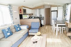 Interior of luxury six berth static caravan. Detail photo of Sta. Prestatyn, Gorant, North Wales Great Britain, UK- Sep 04 2017 : Interior of luxury six berth Stock Images