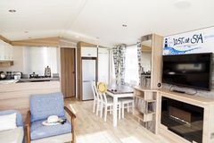 Interior of luxury six berth static caravan. Detail photo of Sta. Prestatyn, Gorant, North Wales Great Britain, UK- Sep 04 2017 : Interior of luxury six berth Royalty Free Stock Photos